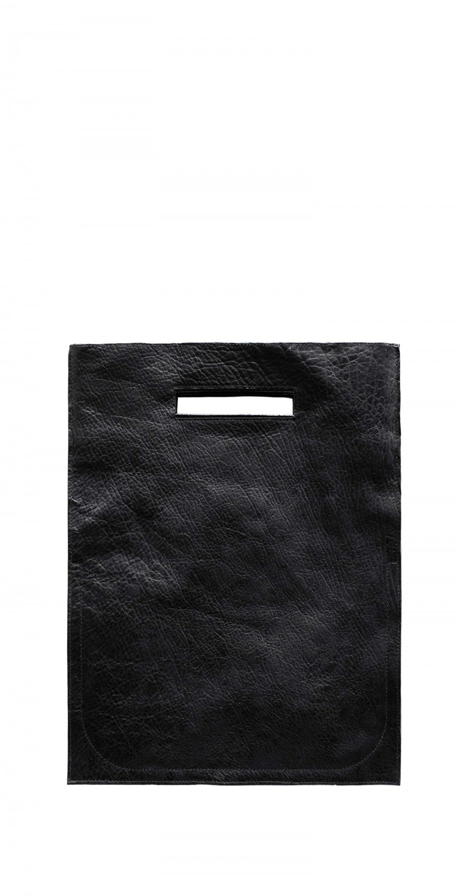 flat leather shopper